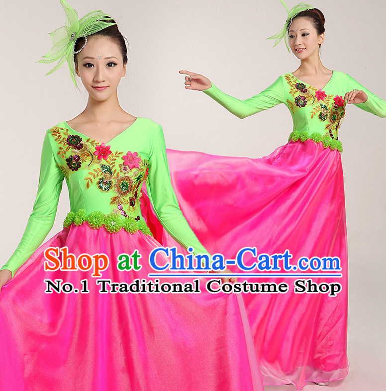 Chinese Folk Ribbon or Fan Dancing Costume and Headwear Complete Set for Women