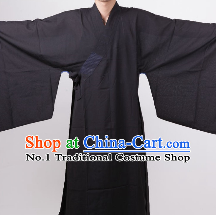 Chinese Black Taoist Long Robe for Men