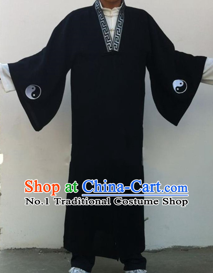 Chinese Deep Blue Yin Yang Wudang Mountain Taoist Clothes Complete Set for Men