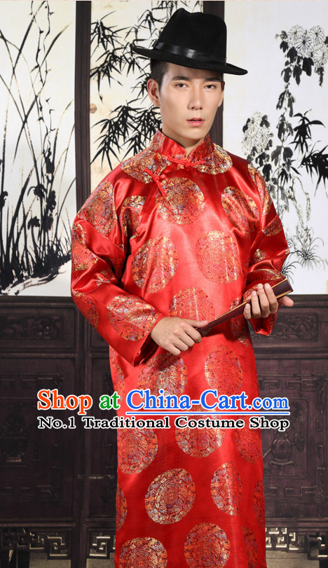 Chinese Traditional Bridegroom Robe and Hat Complete Set for Men