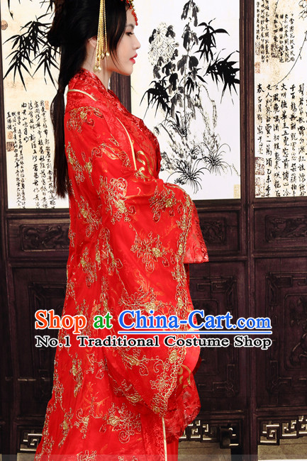 Chinese red costumes national costume
