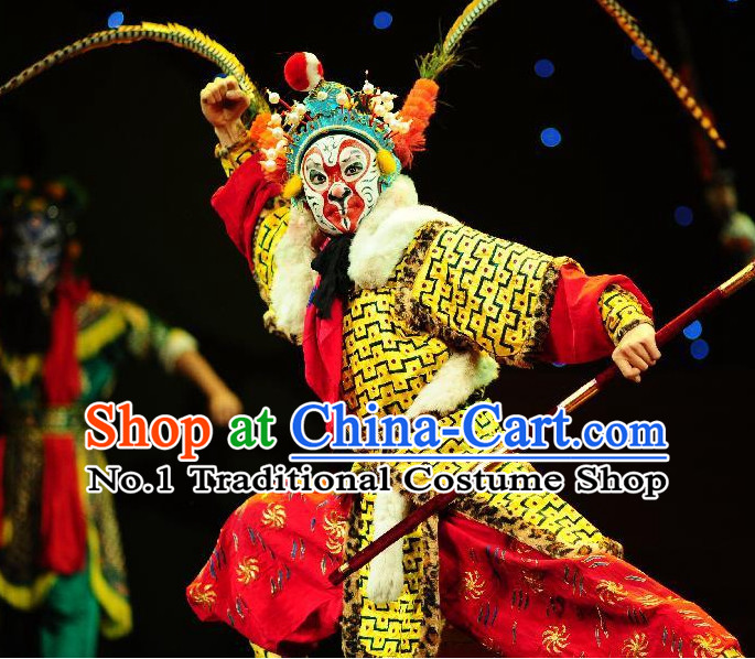 Chinese Traditional Dresses Theatrical Costumes Ancient Chinese Hanfu Sun Wukong Costumes and Hair Accessories