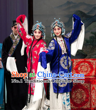 Blue Ancient Chinese Beijing Opera Hua Dan Hua Tan Long Water Sleeves Costumes for Women