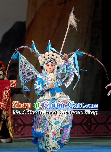 Ancient Chinese Beijing Opera Military Hua Tan Costumes and Hair Accessories Complete Set