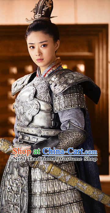 Ancient Chinese Heroine Armor Costumes Complete Set for Women