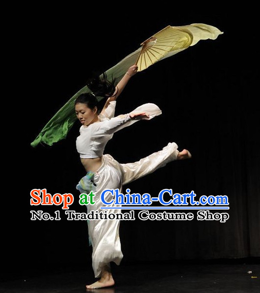 Beautiful Chinese Fan Dance Costumes Complete Set for Women