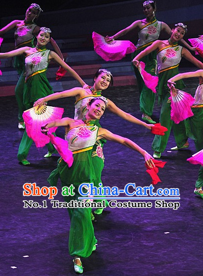 Beautiful Chinese Fan Dance Costumes and Hair Jewelry Complete Set for Women