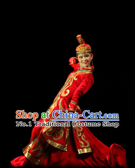 Beautiful Chinese Mongolian Dance Costumes and Hat Complete Set for Women