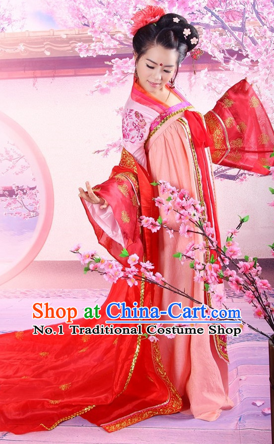 Top Chinese Tang Dynasty Princess Costumes and Hair Accessories Complete Set for Women