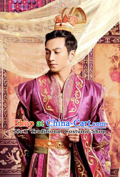 Top Chinese Wedding Dress Bridal Bridegroom Costumes Attire and Coronet Complete Set for Men