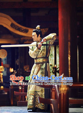 Chinese Traditional Ancient Prince Clothes and Coronet Complete Set for Men