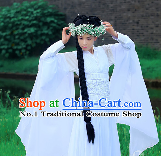 Chinese Traditional White Fairy Han Fu Clothes and Hair Decorations Complete Set