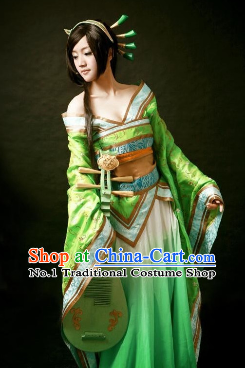 Ancient Chinese Fairy Costumes and Hair Accessories Complete Set