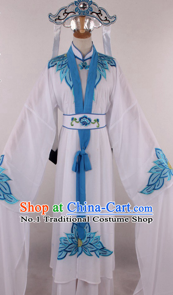 Chinese Traditional Oriental Clothing Theatrical Costumes Opera Female Nun Costumes and Hat Complete Set