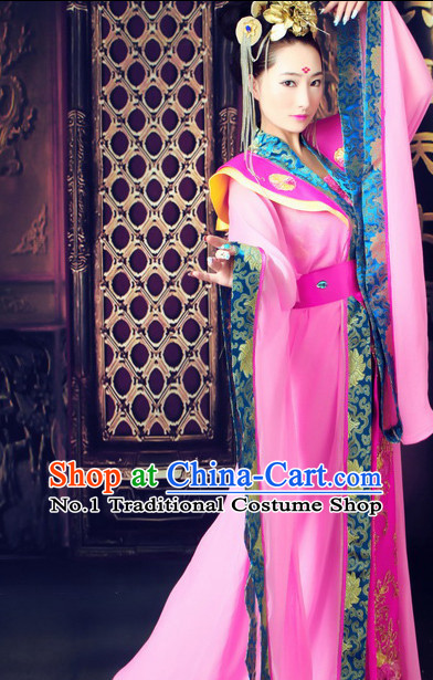 Traditional Chinese Photo Costume Classical Dancing Costume and Hair Accessories Complete Set for Ladies