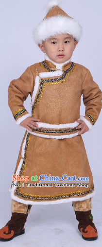 Traditional Chinese Mongolian Long Robe and Hat Complete Set for Boys