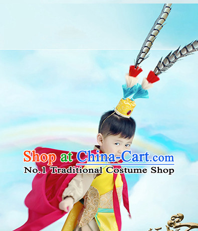 Traditional Chinese Photo Costume Sun Wukong Costumes and Hair Accessories for Kids Boys