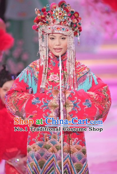 Traditional Chinese Classical Wedding Dress Clothes and Phoeninx Hat Complete Set for Women