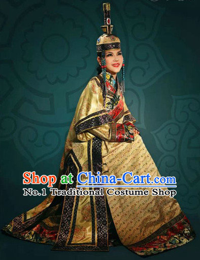 Traditional Chinese Mongolian Long Robes and Hat Complete Set for Women