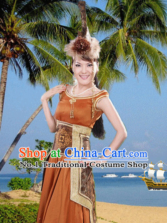 Traditional Chinese Mongolian Clothes and Hat Complete Set for Women