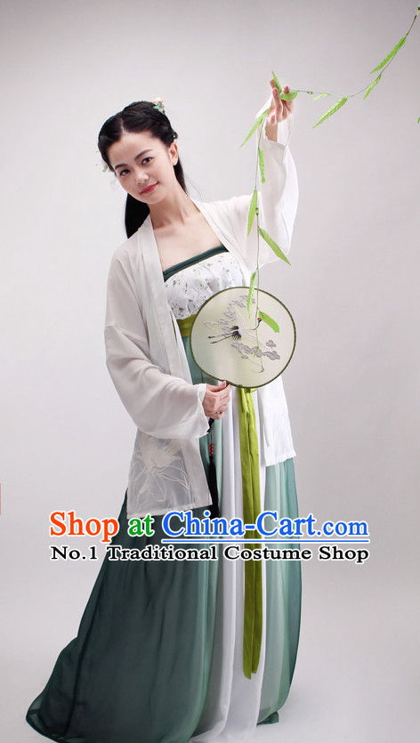 Ancient Chinese Ming Dynasty Attire Clothing and Fan Complete Set for Girls
