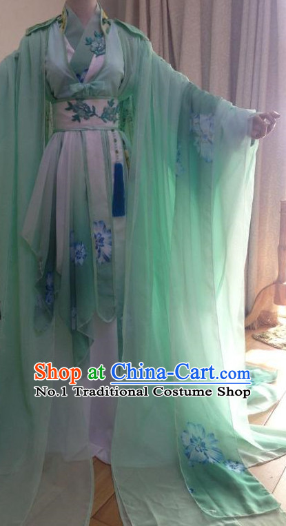 Long Trail Ancient Chinese Princess Costumes Complete Set for Women