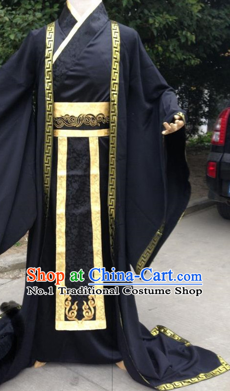 Black Ancient Chinese Male Clothes Complete Set