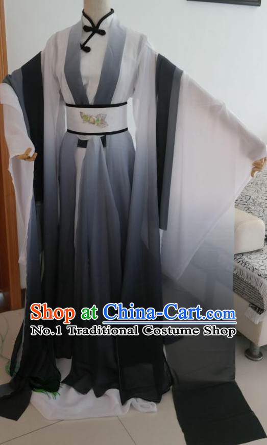 Black White Ancient Chinese Poet Clothes Complete Set for Men