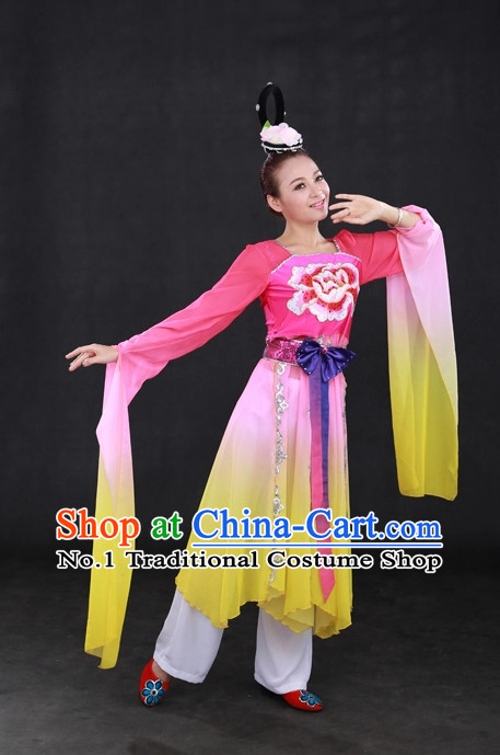 Long Sleeves Traditional Chinese Classical Dancing Costumes and Hair Accessories Complete Set for Women