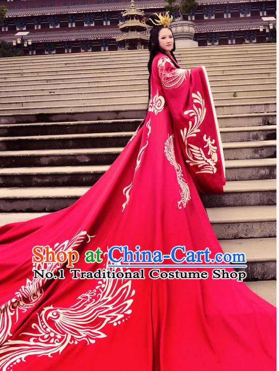 Ancient Chinese Traditional Bridal Wedding Ceremonial Dresses and Headwear Complete Set for Women