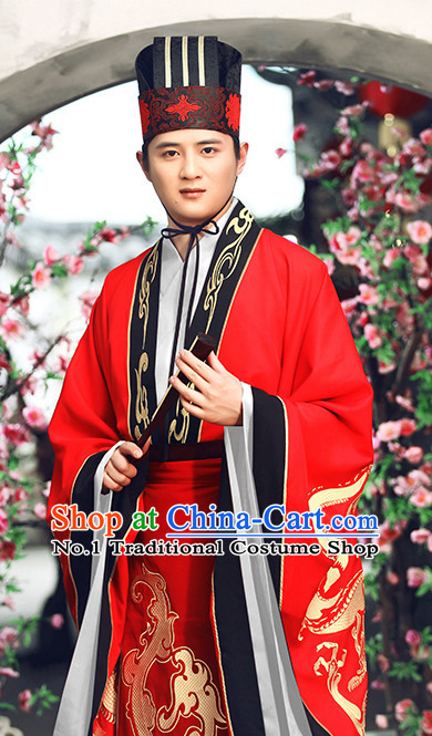 Red Chinese Ancient Bridegroom Wedding Dresses and Hat Complete Set for Men