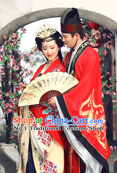 cccb5ee034e01 Red Chinese Ancient Wedding Dresses and Headwear Complete Sets for Men and  Women