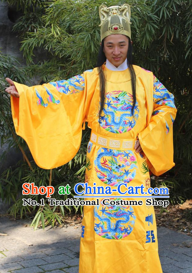 Ancient Chinese Ming Dynasty Emperor Robe and Hat Complete Set for Men