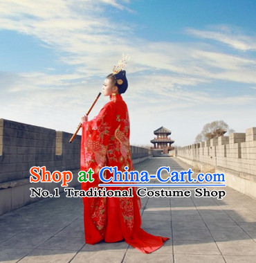 China Red Peacock Empress Queen Clothing Complete Set for Women