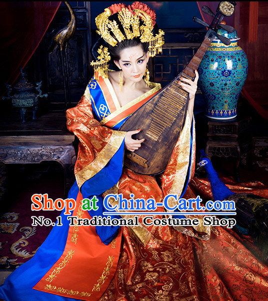 Traditional Chinese Ancient Queen Costumes and Hair Accessories Complete Set