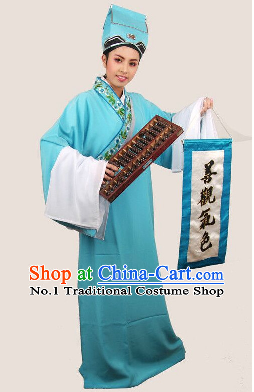 Chinese Ancient Fortune Teller Costumes and Hat Complete Set