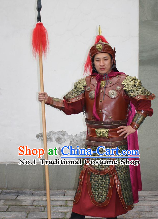 Chinese Ancient Warrior Armor Costumes and Helmet Complete Set for Men