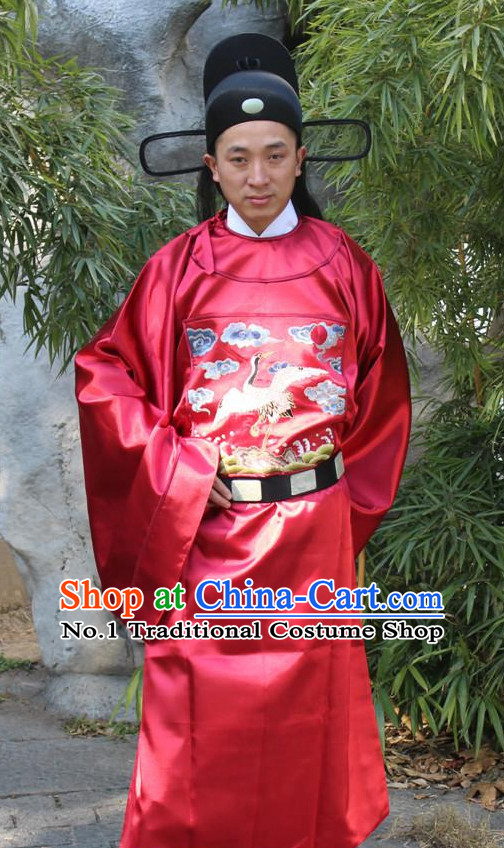 Chinese Ancient Ming Dynasty Official Costumes and Hat Complete Set for Men