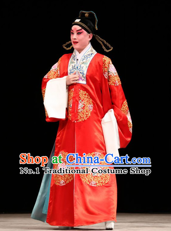 Chinese Traditonal Beijing Opera Bridegroom Wedding Dress and Hair Accessories Complete Set
