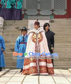 Ancient Korean Classic Emperor Winter Coat Dragon Mantle Cape for Men