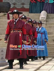 Ancient Korean Bodyguard Costume and Hat Complete Set