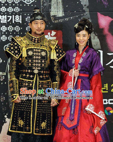 Ancient Korean Imperial General Armor Costumes and Headpieces Complete Set