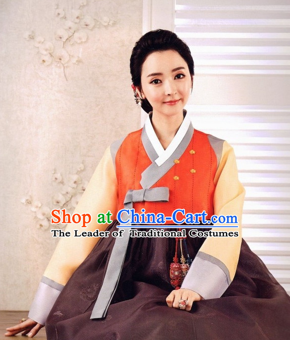 Custom Make Korean Fashion Hanbok and Hair Accessories Complete Set for Ladies