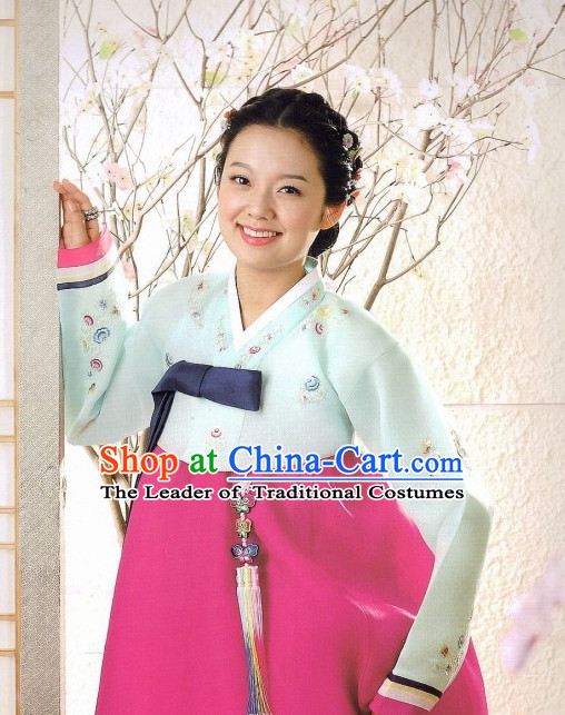 Korean Traditional Hanbok Customs Garment and Hair Accessories Complete Set for Women