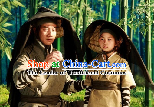 Ancient Chinese Superhero Swordman Costume 2 Sets for Father and Son