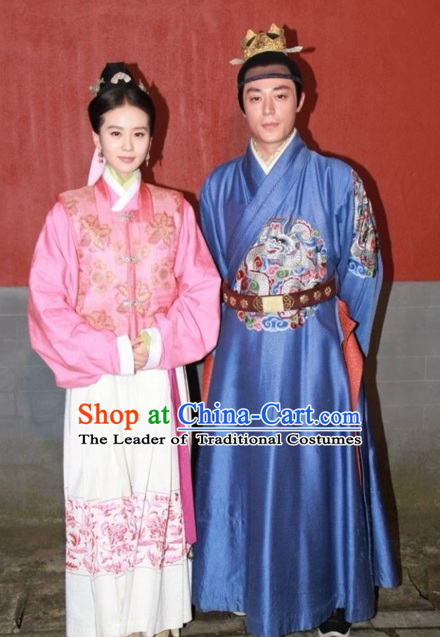 Ming Dynasty Emperor and Doctor Costumes and Hair Accessories Complete Set 2 Sets