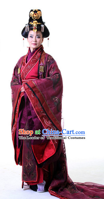 China Ancient Queen Hanfu Costumes and Hair Accessories Complete Set