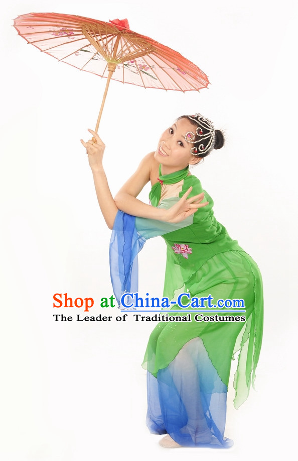 Green Lotus Dance Costume Dance Dresses and Hair Jewelry Complete Set for Women
