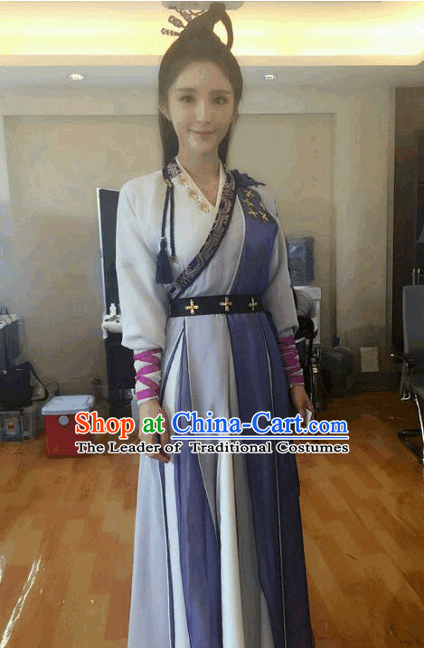 Ancient Wuxia Lady Costume Complete Set for Girls