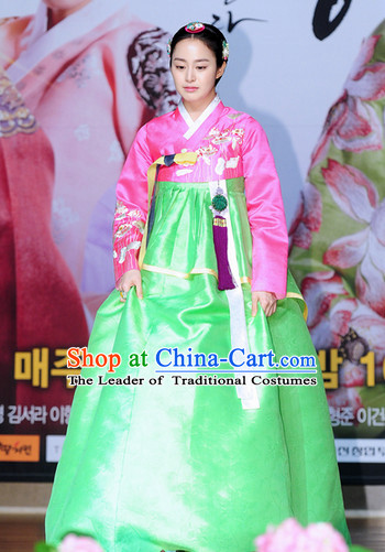 Ancient Korean Young Queen Hanbok and Decorations